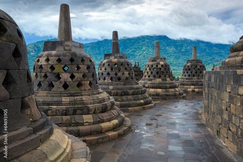 Aluminium Prints Indonesia Borobudur Buddist temple Yogyakarta. Java, Indonesia
