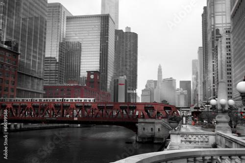 Poster Chicago Train crossing a bridge in a city, Lake Street Bridge, Chicago R