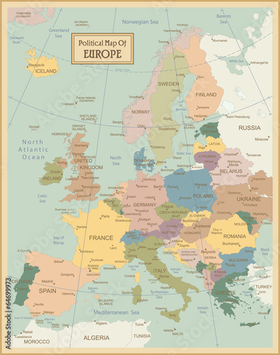 Europa-highly detailed map.Layers used. Canvas Print