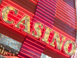 Neon casino sign lit up at night, Fremont Street, Las Vegas, Nev