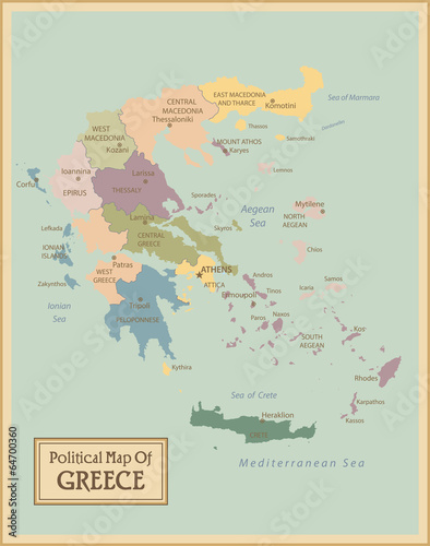 Canvas Print Greece -highly detailed map.Layers used.