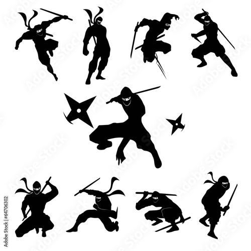 Photo  Ninja Shadow siluate Vector silhouette