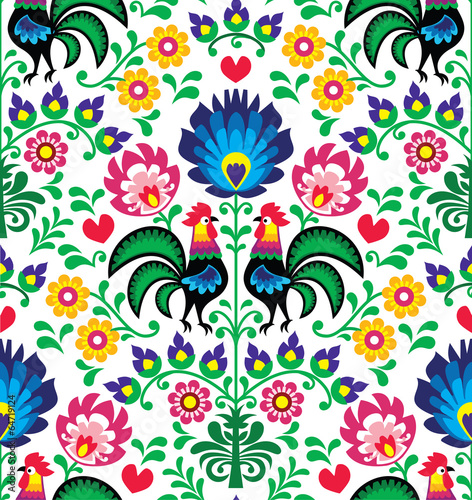 Obraz Seamless traditional floral Polish pattern - Wzory Łowickie - fototapety do salonu