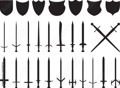 Fotografia Swords and shields set illustrated on white