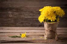 Yellow Chrysanthemum On Wooden Background