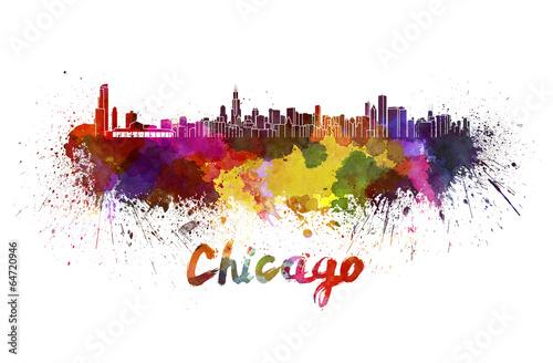 Fotografia  Chicago skyline in watercolor