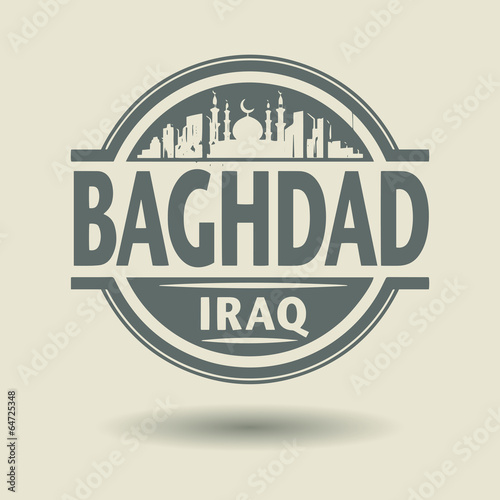 Fotografija  Stamp or label with text Baghdad, Iraq inside, vector