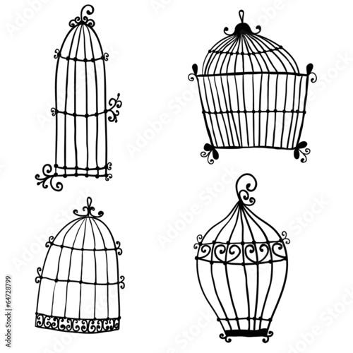 Fotografie, Obraz  Set of doodle cages for birds