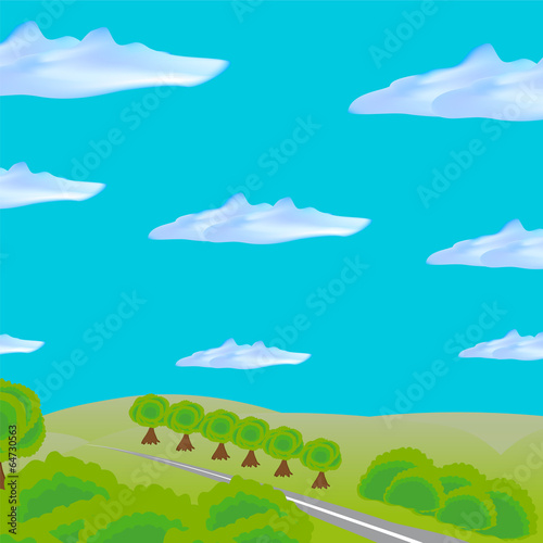Spoed Foto op Canvas Turkoois landscape with road through field and forest