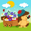 hedgehog with a wooden cart - vector illustration