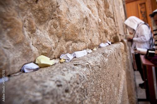 Man praying at the Wailing Wall, Jerusalem - Buy this stock