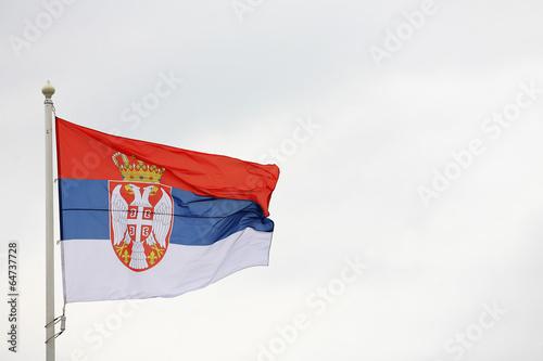 flag of Serbia in the wind, zastava srbije viori na vetru Wallpaper Mural