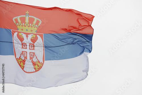 Photo flag of Serbia in the wind, zastava srbije viori na vetru