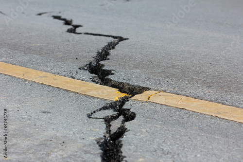 Fototapeta broken road by an earthquake in Chiang Rai, thailand