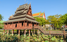 Wooden Temple Of  Wat Thung Si Muang In Ubon Ratchathani,Thailad
