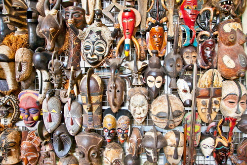 Old african masks sale at market in Nairobi, Kenya.