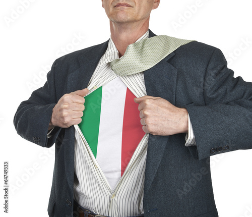 Photo  Businessman showing Italy flag superhero suit underneath his shi