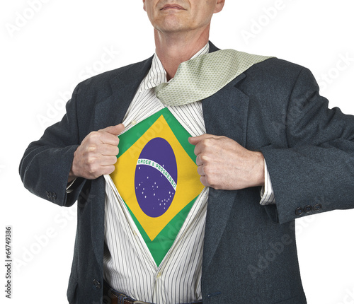 Photo  Businessman showing brazil flag superhero suit underneath his sh