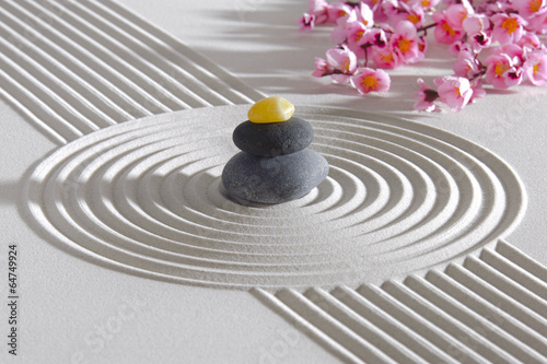 Photo sur Plexiglas Zen pierres a sable Japanese ZEN garden with stacked stones