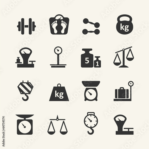 Fotografia  Web icon set - scales, weighing, weight, balance