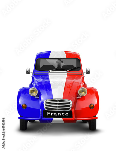 Photo  Vieille Automobile bleu blanc rouge France
