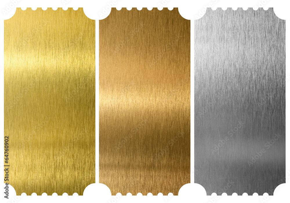 Fototapeta Aluminum, bronze and brass tickets isolated