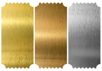 Aluminum, bronze and brass tickets isolated