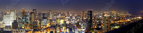Fototapeta premium Panoramiczna Osaka nocą, Japonia
