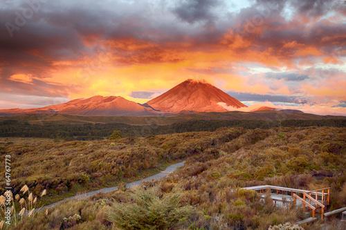 Sunset at Mt Ngauruho, New Zealand Wallpaper Mural