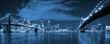 Leinwanddruck Bild - Manhattan and Brooklyn bridge night view