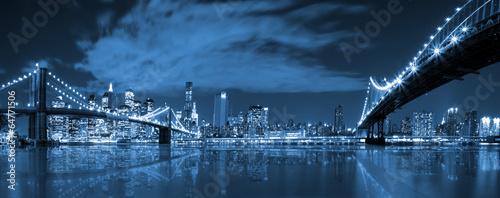 Fotobehang Brooklyn Bridge Manhattan and Brooklyn bridge night view