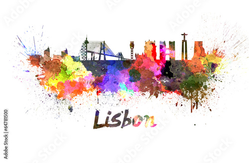 Fotografia  Lisbon skyline in watercolor