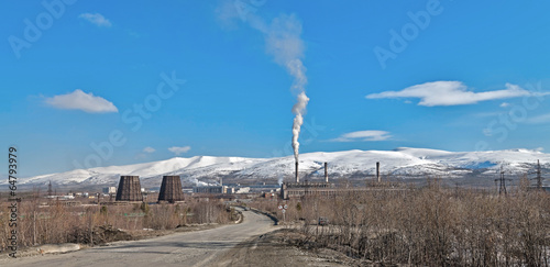 Mining factory in Apatity, Murmansk region, Russia. Canvas Print