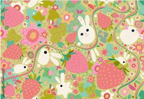 Conejo y fresas