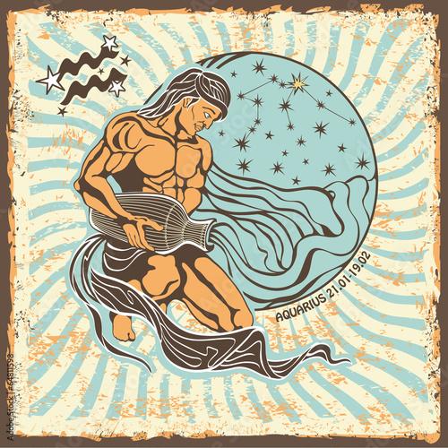 Aquarius zodiac sign.Vintage Horoscope card - 64811598