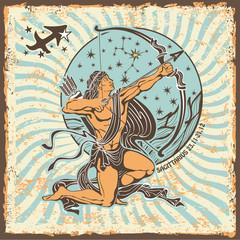 Naklejka Sagittarius zodiac sign.Vintage Horoscope card