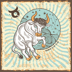 Fototapeta Taurus zodiac sign.Vintage Horoscope card