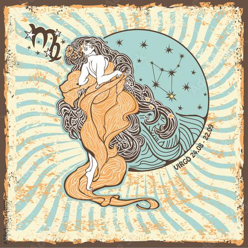 Virgo zodiac sign.Vintage Horoscope card - 64811790