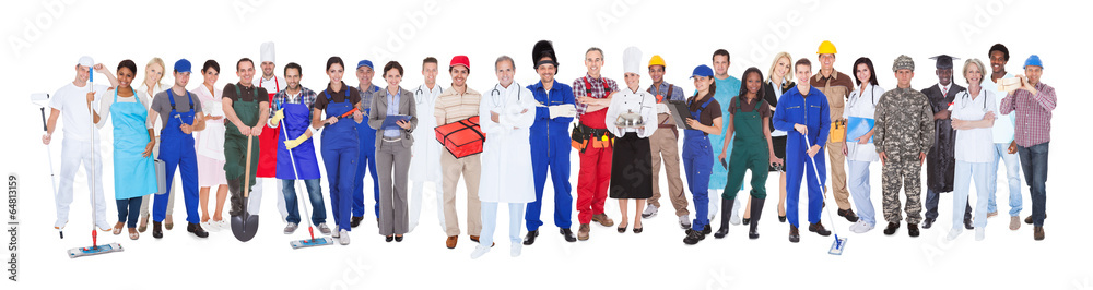 Fototapety, obrazy: Full Length Of People With Different Occupations