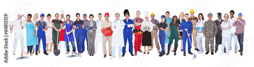 Fotomural  Full Length Of People With Different Occupations
