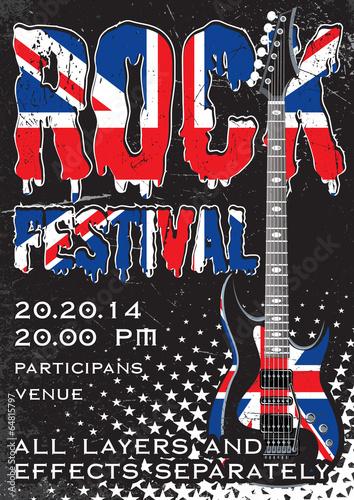 In de dag Muziekband Rock festival design template