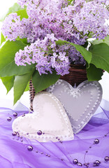 Obraz na Szkle Prowansalski Valentine metal heart with flowers of lilac