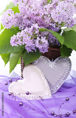 Valentine metal heart with flowers of lilac - 64816564