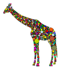 Fototapeta Żyrafa giraffa composta da cerchi colorati