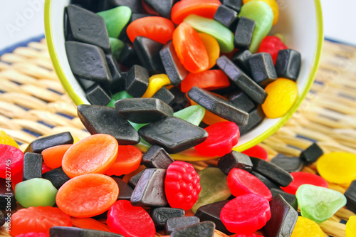 Aluminium Prints Candy Mixed colorful candies on table