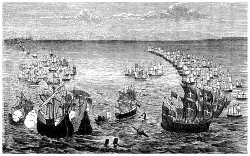 The Spanish Armada vs the English Fleet - 16th century Wallpaper Mural