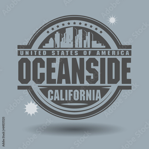 Photo Stamp or label with text Oceanside, California inside