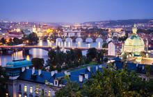 Bridges And Skyline Of Prague, Czech Republic