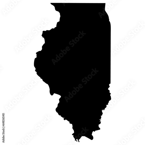 Photographie High detailed vector map - Illinois.