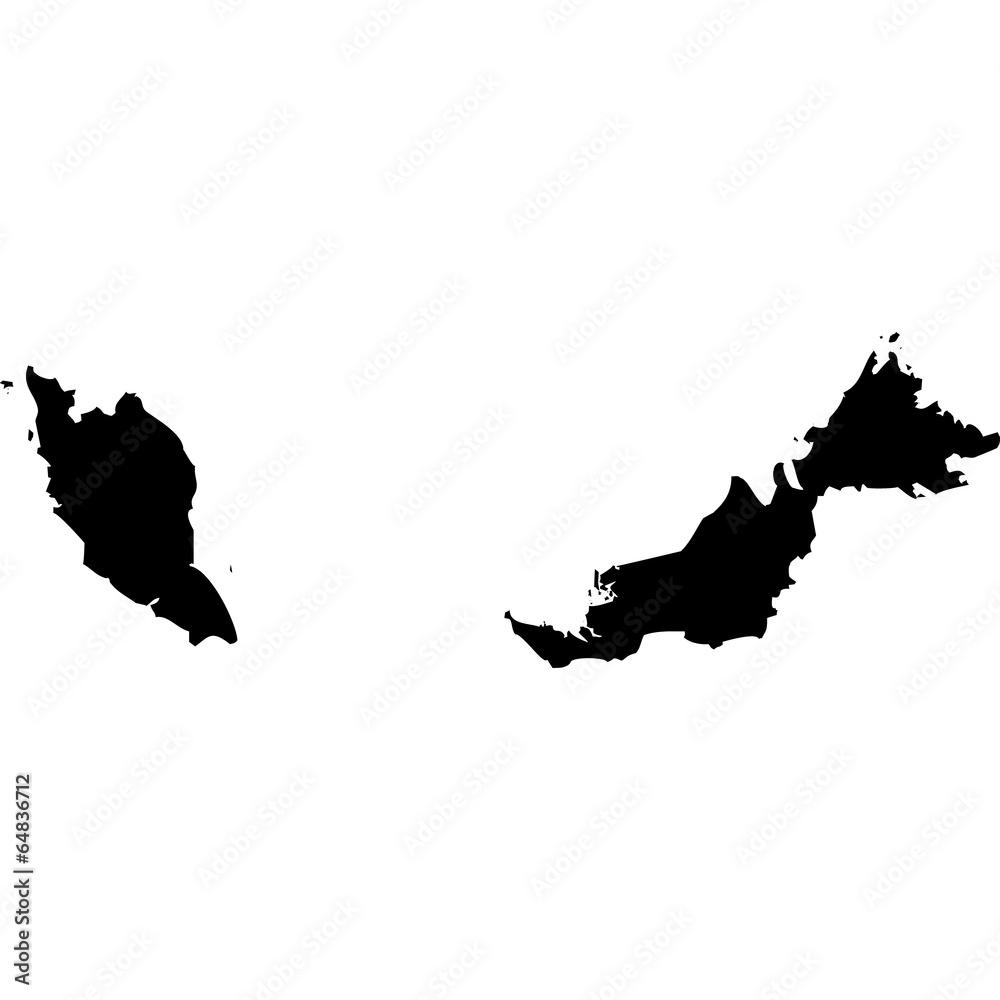 Fototapeta High detailed vector map - Malaysia.